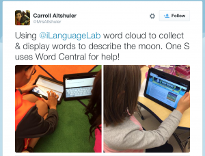Using @iLanguageLab word cloud to collect & display words to describe the moon. One S uses Word Central for help!